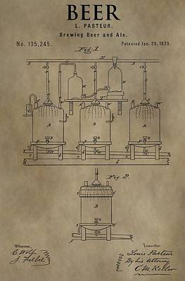 Hop Mixed Media - Beer Brewery Patent by Dan Sproul
