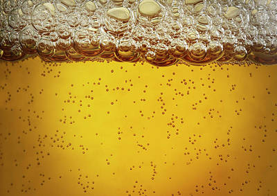 Yellow Photograph - Beer Bubbles by Jeremy Hudson