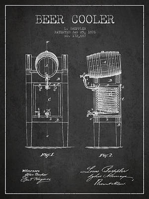 Beer Cooler Patent Drawing From 1876 - Dark Art Print by Aged Pixel