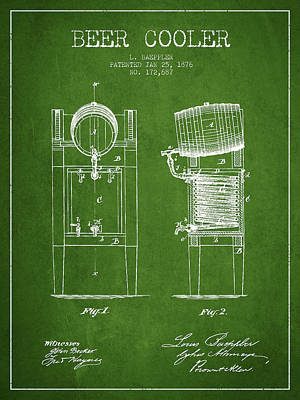 Beer Royalty-Free and Rights-Managed Images - Beer Cooler Patent Drawing from 1876 - Green by Aged Pixel