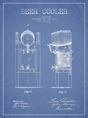 Keg Digital Art - Beer Cooler Patent Drawing From 1876 - Light Blue by Aged Pixel