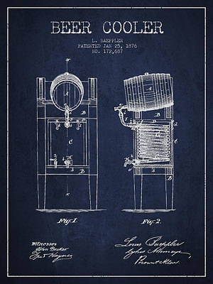 Keg Digital Art - Beer Cooler Patent Drawing From 1876 - Navy Blue by Aged Pixel
