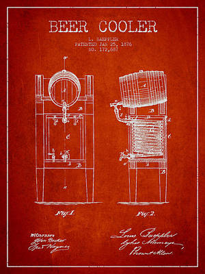 Beer Royalty-Free and Rights-Managed Images - Beer Cooler Patent Drawing from 1876 - Red by Aged Pixel