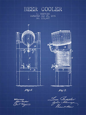 Beer Cooler  Patent From 1876 - Blueprint Art Print
