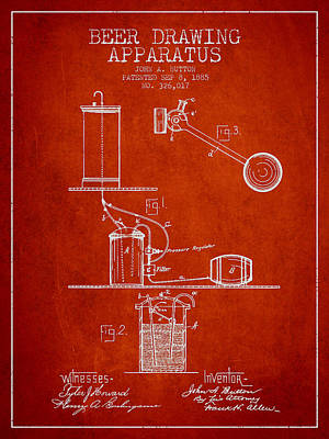 Beer Royalty-Free and Rights-Managed Images - Beer Drawing Apparatus Patent from 1885 - Red by Aged Pixel