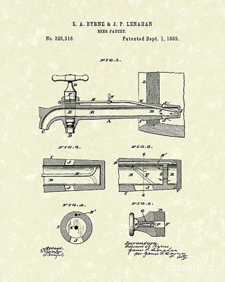 Drawing - Beer Faucet 1885 Patent Art by Prior Art Design