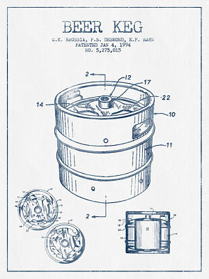 Beer Royalty-Free and Rights-Managed Images - Beer Keg Patent Drawing -  Blue Ink by Aged Pixel