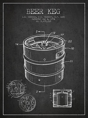 Drawing - Beer Keg Patent Drawing - Dark by Aged Pixel