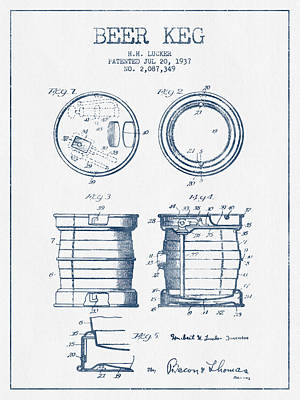 Beer Royalty-Free and Rights-Managed Images - Beer Keg Patent Drawing from 1937  -  Blue Ink by Aged Pixel