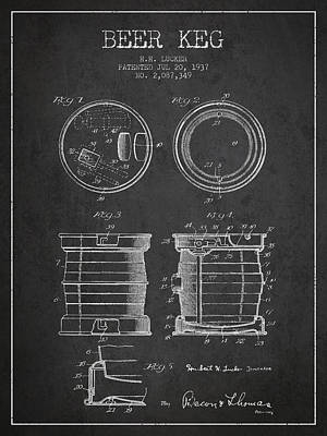 Beer Royalty-Free and Rights-Managed Images - Beer Keg Patent Drawing from 1937 - Dark by Aged Pixel