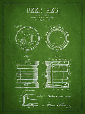 Beer Royalty-Free and Rights-Managed Images - Beer Keg Patent Drawing from 1937 - Green by Aged Pixel