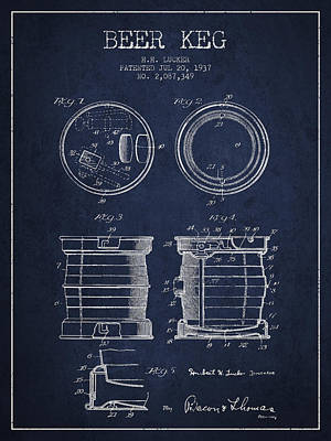Beer Royalty-Free and Rights-Managed Images - Beer Keg Patent Drawing from 1937 - Navy Blue by Aged Pixel