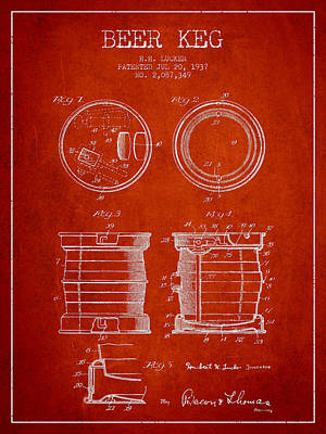 Beer Royalty-Free and Rights-Managed Images - Beer Keg Patent Drawing from 1937 - Red by Aged Pixel