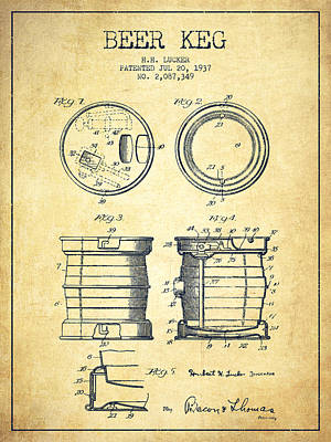 Beer Royalty-Free and Rights-Managed Images - Beer Keg Patent Drawing from 1937 - Vintage by Aged Pixel