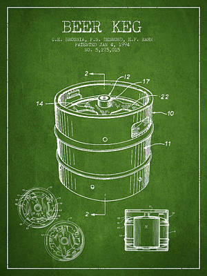 Beer Royalty-Free and Rights-Managed Images - Beer Keg Patent Drawing - Green by Aged Pixel