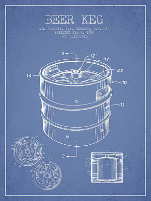 Beer Royalty-Free and Rights-Managed Images - Beer Keg Patent Drawing - Light Blue by Aged Pixel