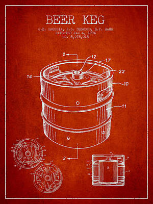 Beer Royalty-Free and Rights-Managed Images - Beer Keg Patent Drawing - Red by Aged Pixel