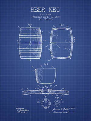 Keg Digital Art - Beer Keg Patent From 1898 Blueprint by Aged Pixel