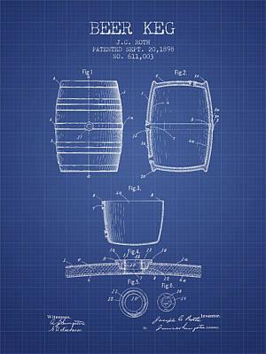 Beer Digital Art - Beer Keg patent from 1898 Blueprint by Aged Pixel