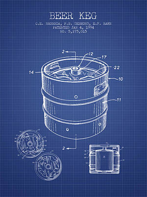Beer Royalty-Free and Rights-Managed Images - Beer Keg patent from 1994 Blueprint by Aged Pixel