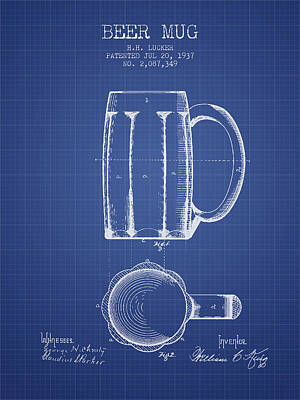 Glass Wall Digital Art - Beer Mug Patent 1876 - Blueprint by Aged Pixel