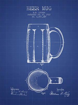 Beer Digital Art - Beer Mug Patent 1876 - Blueprint by Aged Pixel