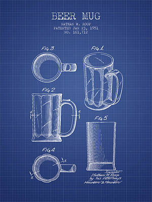 Beer Mug Patent 1951 - Blueprint Art Print by Aged Pixel