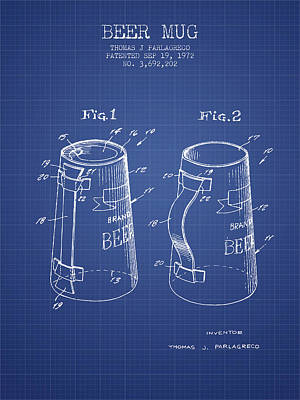 Beer Royalty-Free and Rights-Managed Images - Beer Mug Patent 1972 - Blueprint by Aged Pixel