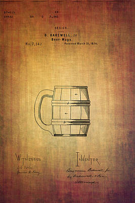 Ale Mixed Media - Beer Mug Patent B.bakewell From 1874 by Eti Reid