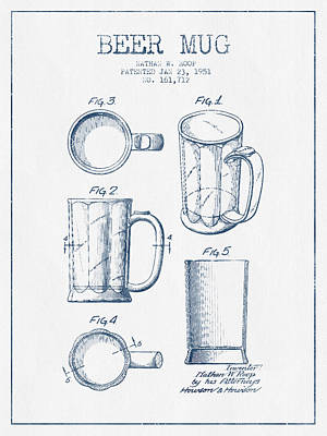 Beer Mug Patent Drawing From 1951 -  Blue Ink Art Print by Aged Pixel