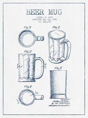 Beer Digital Art - Beer Mug Patent Drawing from 1951 -  Blue Ink by Aged Pixel