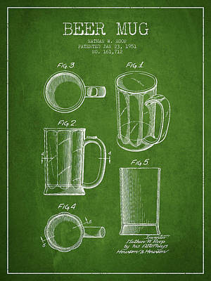 Beer Royalty-Free and Rights-Managed Images - Beer Mug Patent Drawing from 1951 - Green by Aged Pixel