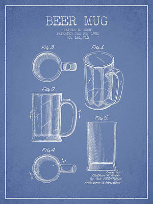 Beer Mug Patent Drawing From 1951 - Light Blue Art Print by Aged Pixel