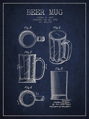 Beer Royalty-Free and Rights-Managed Images - Beer Mug Patent Drawing from 1951 - Navy Blue by Aged Pixel