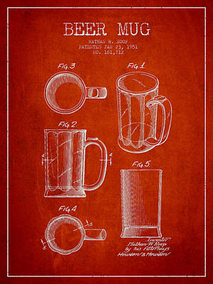 Beer Royalty-Free and Rights-Managed Images - Beer Mug Patent Drawing from 1951 - Red by Aged Pixel