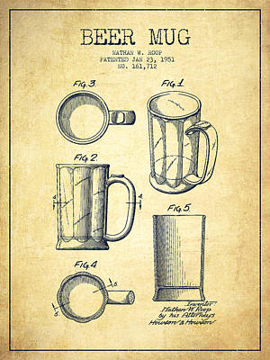 Beer Royalty-Free and Rights-Managed Images - Beer Mug Patent Drawing from 1951 - Vintage by Aged Pixel
