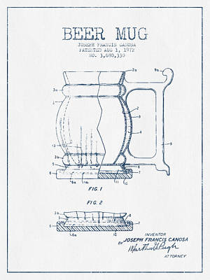 Beer Royalty-Free and Rights-Managed Images - Beer Mug Patent Drawing from 1972 -  Blue Ink by Aged Pixel
