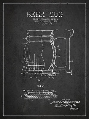 Beer Royalty-Free and Rights-Managed Images - Beer Mug Patent Drawing from 1972 - Dark by Aged Pixel