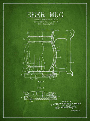 Beer Royalty-Free and Rights-Managed Images - Beer Mug Patent Drawing from 1972 - Green by Aged Pixel