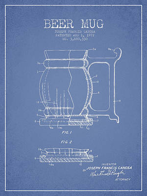 Beer Royalty-Free and Rights-Managed Images - Beer Mug Patent Drawing from 1972 - Light Blue by Aged Pixel