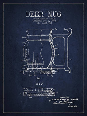 Beer Royalty-Free and Rights-Managed Images - Beer Mug Patent Drawing from 1972 - Navy Blue by Aged Pixel