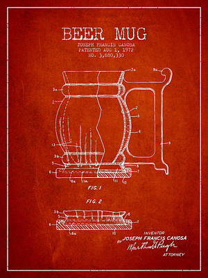 Beer Royalty-Free and Rights-Managed Images - Beer Mug Patent Drawing from 1972 - Red by Aged Pixel