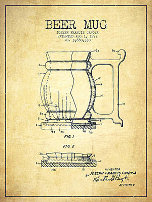 Beer Royalty-Free and Rights-Managed Images - Beer Mug Patent Drawing from 1972 - Vintage by Aged Pixel