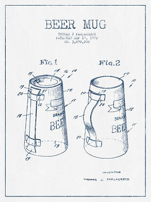 Beer Royalty-Free and Rights-Managed Images - Beer Mug Patent from 1972  -  Blue Ink by Aged Pixel