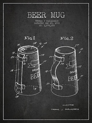 Beer Royalty-Free and Rights-Managed Images - Beer Mug Patent from 1972 - Dark by Aged Pixel