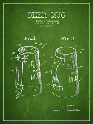Beer Royalty-Free and Rights-Managed Images - Beer Mug Patent from 1972 - Green by Aged Pixel