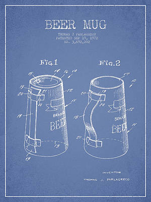 Beer Royalty-Free and Rights-Managed Images - Beer Mug Patent from 1972 - Light Blue by Aged Pixel