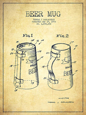 Beer Royalty-Free and Rights-Managed Images - Beer Mug Patent from 1972 - Vintage by Aged Pixel