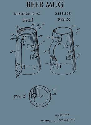 Stein Digital Art - Beer Mug Patent On Blue by Dan Sproul