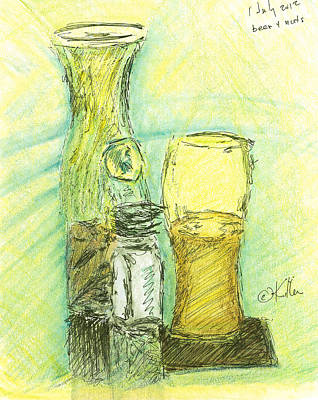Drawing - Beer N Nuts by William Killen